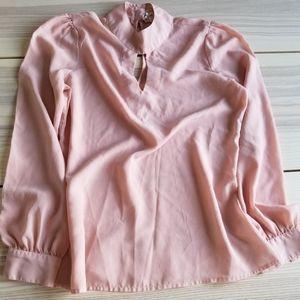 Japna light pink keyhole choker collar blouse